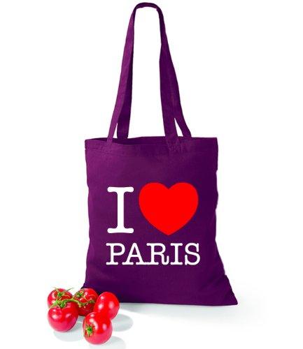 Artdiktat Baumwolltasche I love Paris Burgundy Eg4NT