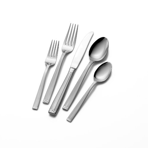 Mikasa 5053418 Meridian Frost 65-Piece Stainless Steel Flatware Set with Caddy, Service for 12