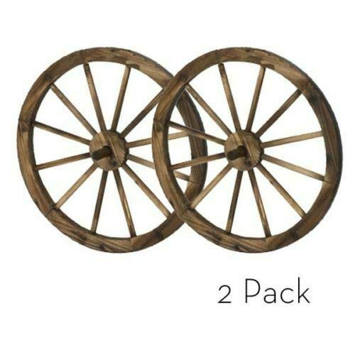 PierSurplus Present 24 in Steel-Rimmed Wooden Wagon Wheels - Decorative Wall Decor, Set of Two Product (Decorated Country Living Rooms)