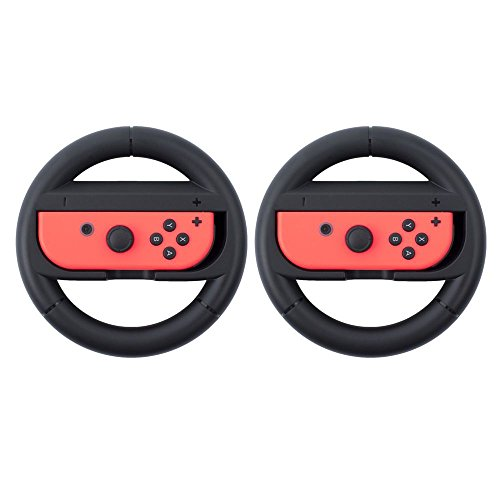 Extra Cart - Insten Nintendo Switch Joy-Con Protective Steering Wheel Grip (Set of 2) [Extra Protection] for Nintendo Switch Joy Con Left/Right Controller, Black