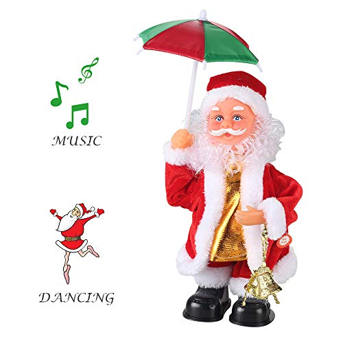 - ElementDigital Christmas Dolls, 2018 New Christmas Electric Vintage Animated Saxophone Dancing Music Santa Claus Doll Christmas Decorations for Home Xmas Gift for Kids (Santa + Umbrella)