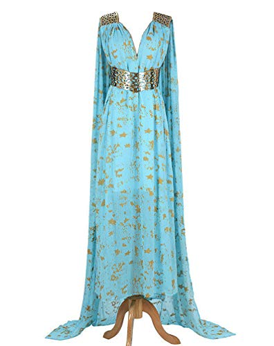 550 - Game of Thrones Daenerys Targaryen Cosplay Blue Qarth Party Dress (2) M