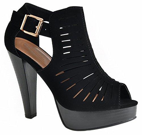 Top Moda Table-6 Women's peep toe platform chunky heel closed back buckle T-strap nubuck pumps Black 8