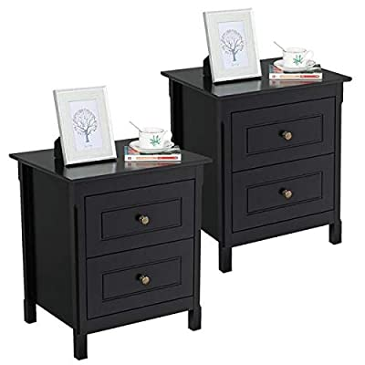 YAHEETECH Bedside Table Nightstand with 2 Storage Drawers - End Side Tables Coffee Table for Bedroom, Set of 2 - Selected material: The end table is made of high-quality materials, P2 class MDF and natural pine wood with paint coating. These selected materials make sure that the table will do no harm to your health. Storage function: The nightstand features two drawers. You can keep your books, eyeglasses, chargers, personal items and daily necessities in drawers. Also, you can put the lamp and photos on the top of the nightstand. This 2 drawers table may help you make your stuff organized and neat. Classic design: The table looks simple but classic and elegant. Each drawer features a bronze knob. There are white and black two colors available. They may perfectly match with your other furniture. - nightstands, bedroom-furniture, bedroom - 41QNdjup05L. SS400  -