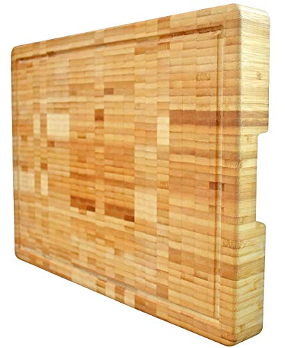 Solid Countertop Wood (Extra Large Organic Bamboo Cutting Board End Grain Butcher Block Thick Heavy & Solid (18