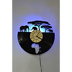 NICE STUFF ONLY African Safari Design Wall Light Clock - Original Home Interior Décor - Wall Clock - Perfect Gift for Him and Her (Blue)