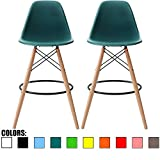 2xhome - Set of Two (2) - Teal - 28'' Seat Height Eames Chair Style DSW Molded Plastic Bar Stool Modern Barstool Counter Stools with backs and armless Natural Legs Wood Eiffel Legs Dowel-Leg
