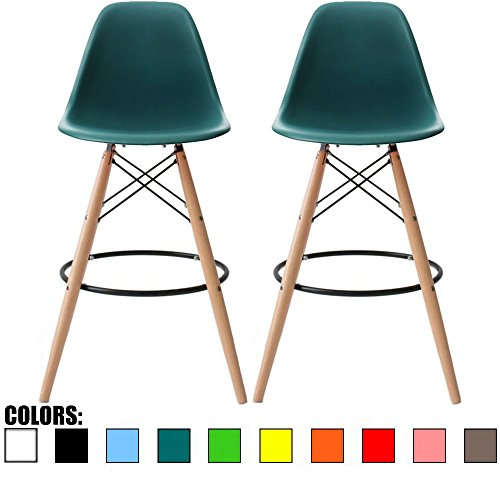 "2xhome - Set of Two (2) - Teal - 28"" Seat Height Eames Chair Style DSW Molded Plastic Bar Stool Modern Barstool Counter Stools with backs and armless Natural Legs Wood Eiffel Legs Dowel-Leg"