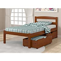 Solid Wood Espresso Twin Bed with Drawers