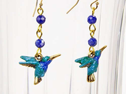 Bird Lazuli Lapis (Blue Hummingbird Earrings Hand Painted with Lapis Lazuli Beads and Gold Filled Ear Wires)