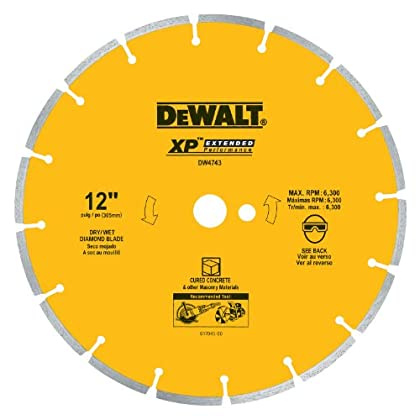 Image of Home Improvements DEWALT DW4743 XP 12-Inch Dry Cutting Diamond Segmented Saw Blade with 1-Inch Arbor for Cured Concrete
