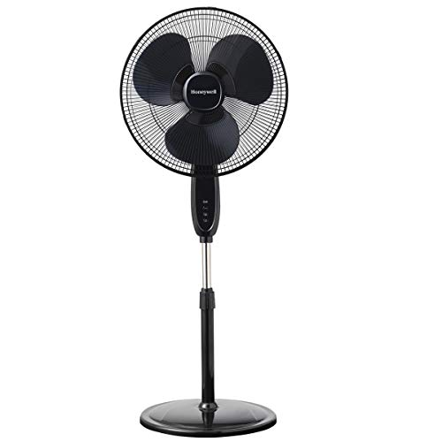 Honeywell Double Blade 16 Pedestal Fan Black With Remote Control, Oscillation, Auto-Off 3 Power Settings Renewed