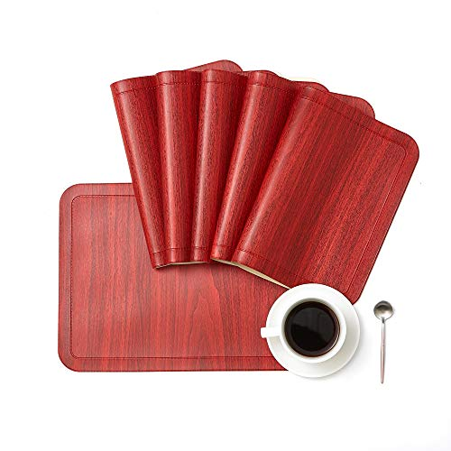 DOLOPL PU Placemats Set of 8 Waterproof&Heat Resistant Placemat for Dining Table Leather WashableTable Mats for Kitchen Dining Office in Red