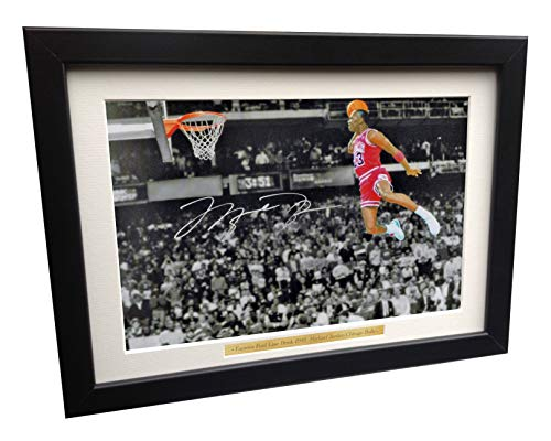 Signed Michael Jordan Famous Foul Line Dunk Chicago Bulls Basketball Autographed Photo Picture Memorabilia Gift -