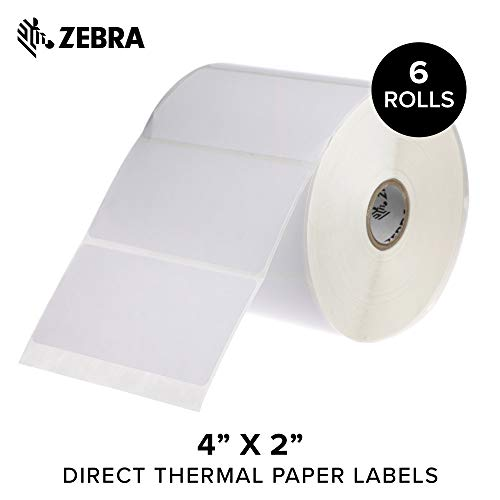 General Purpose Direct Thermal - Zebra - 4 x 2 in Direct Thermal Paper Labels, Z-Perform 2000D Permanent Adhesive Shipping Labels, Zebra Desktop Printer Compatible, 1 in Core - 6 Rolls