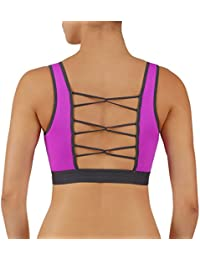 Women's Yoga Top Sports Bra Wirefree Removable Pads Strappy Loop Back with Full Support High Impact