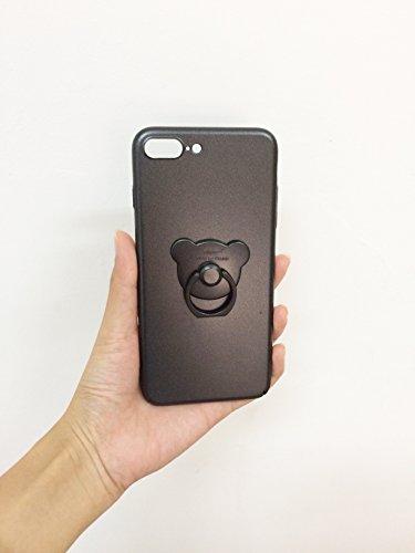 Aiqaa iPhone 7 Plus caja con 360 rotación Bling corazón anillo soporte Kickstand(i7 Plus) (Rosado,Nuevo) Negro,Nuevo