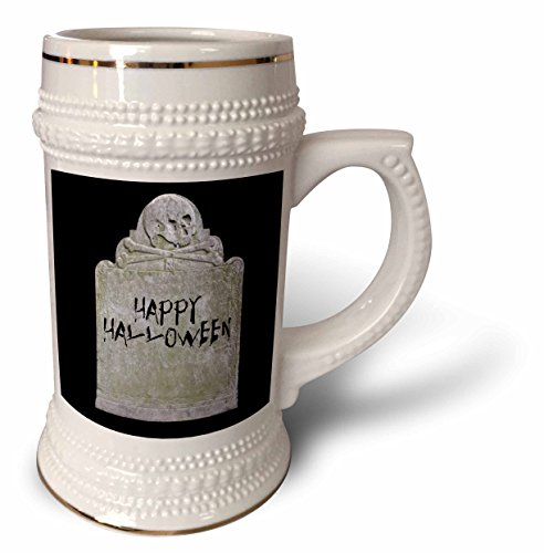 3dRose Xander holiday quotes - Happy Halloween picture of tombstone with black lettering on it - 22oz Stein Mug (stn_201933_1) -