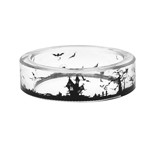 Halloween Jewelry (New Arrival Handmade Halloween Atmosphere Castle Pattern Black and White Scenery Transparent Resin/Plastic Women/Men's Charm Ring (21mm/US#11.5))