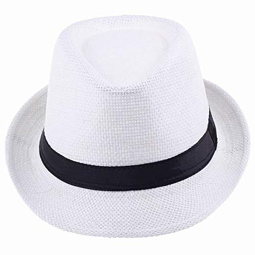 Fedora Hat,Crytech Men Packable Floppy Wide Brim Roll Up Panama Straw Sun Cap Casual Classic Cuban Party Church Trilby Uv Protection Beach Sunhat Cowboy Gangster Cap for Women Outdoor Travel (White)