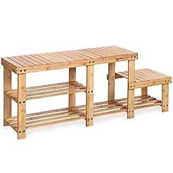 SONGMICS Bamboo Shoe Bench  Entryway Sto...