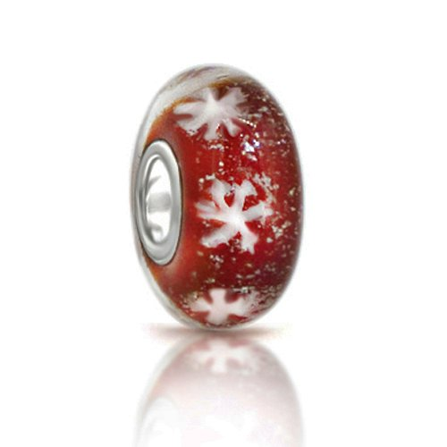 Let It Snow! Christmas White Snowflake Red Murano Glass Bead 925 Sterling Silver Core Bead Fits Pandora Chamilia Biagi Troll Charms Europen Style Bracelets