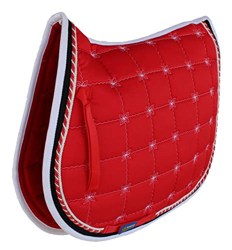 Professional Equine Horse Quilted English Saddle PAD Trail All Purpose Red White 72F52