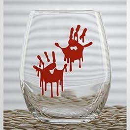 Bloody Hand Prints Halloween Funny Stemless Wine Glass custom Whiskey Glass custom Shot Glass,15 oz