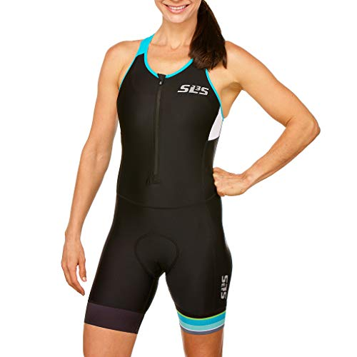 SLS3 Women`s Triathlon Tri Race Suit FRT | Womens Trisuit | Back Pocket Triathlon Suits | Anti-Friction Seams | German Designed (Black/Martinica Blue, L)
