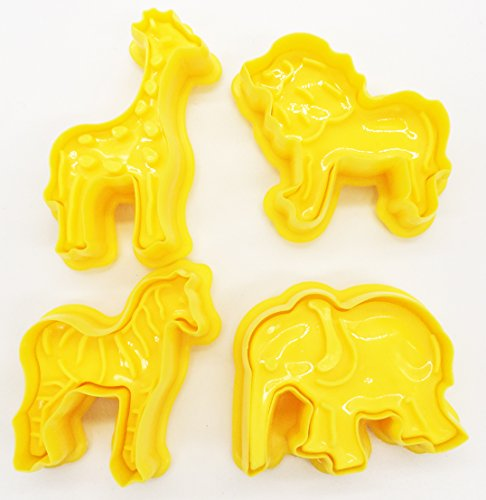 4 Piece Cookie Cutter Set<br>Giraffe, Lion, Zebra, Elephant <br>Durable Food Grade Plastic<b& Elephant