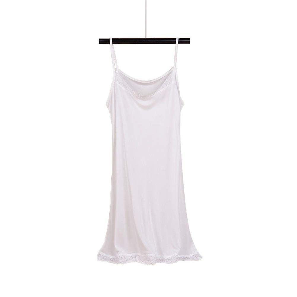 Idealady 100/% Seide Damen Unterkleid Frauen Nachthemd Nachtw/äsche Negligee Miederkleid mit Spitze
