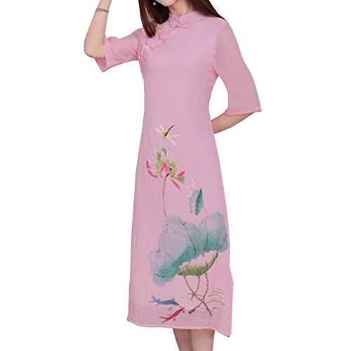 WDPL Women's Tea Length Cotton Cheongsam Qipao Chinese Traditional Dress 1403 Medium Pink by WDPL