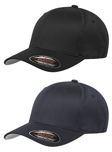 Stretch Fit Baseball Cap (Flexfit Unisex Wooly Combed Twill Cap (6277) 2-Pack (XL/XXL, Black & Dark)