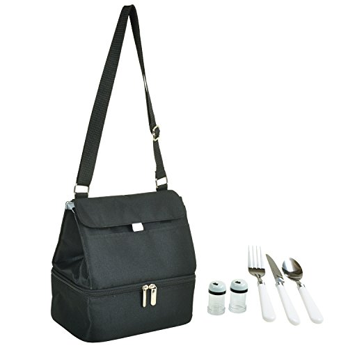 (Picnic at Ascot Fashion Insulated Lunch Bag With Service For One, Black)