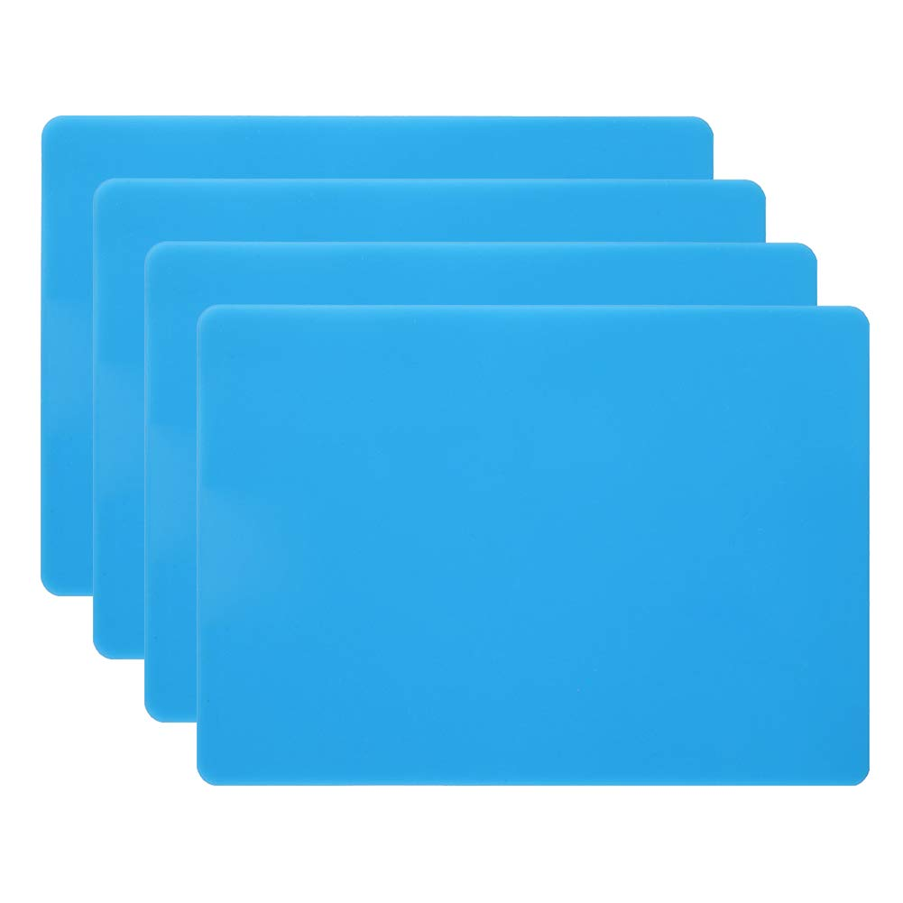 """HomeDo 4Pack Waterproof Silicone Placemats, Non-Stick Baking Mat, Non-Slip Dining Placemat for Kids, Heat Resistant Insulation Countertop Protector Pads, Thicken (Blue-4pcs, 15.75""""x11.81"""")"""
