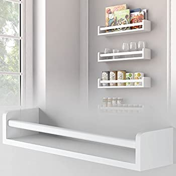 Brightmaison 1 White Kitchen Wall Shelf Spice Rack Organizer Wood Ships  Fully Assembled 17.5 Inch