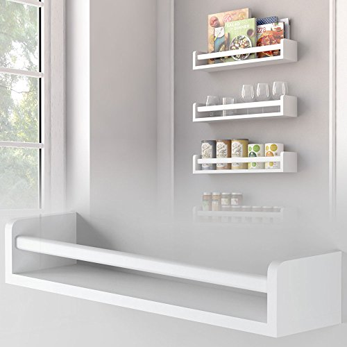 1 White Kitchen Wall Shelf Spice Rack Organizer Wood Ships Fully Assembled 17.5 Inch