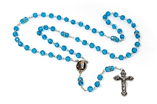 Crystal Rosary Beads Direct From Lourdes with Swarovski Elements, Catholic Chaplets, Crystal Rosaries with a Apparition Medal Centre & Lourdes Prayer -