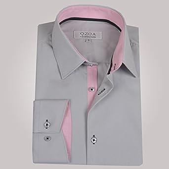 ozoa camisa para hombre gris clair Trio pie de gallina – rosa ...