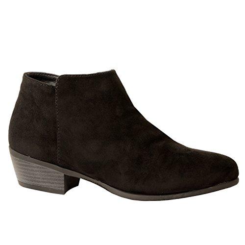 Guilty Schuhe Damen Cowboy geschlossene Zehe Faux Wildleder Bootie - Bequeme Seite Reißverschluss Low Heel Ankle Boot 01-schwarz-Wildleder