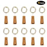 Wine Bottle Lights, 10 Pack Battery Operated LED Cork Shape Silver Copper Wire Colorful Fairy Mini String Lights for DIY, Party, Decor, Christmas, Halloween, Wedding (Warm White)