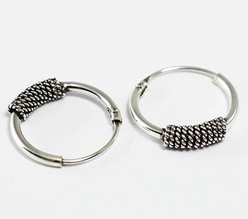 Gymnast Angel Pins (Real 925 Sterling Silver Bali Earring Hoops Black Oxidized Unisex 1/2
