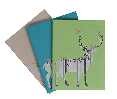 storeindya Writing Notebook Journal Diary for Girls Handmade Softbound Personal Notebook Deer Motif Journal with Unlined Earth Friendly Pages Set of 3 (8 x - Friendly Earth Journal
