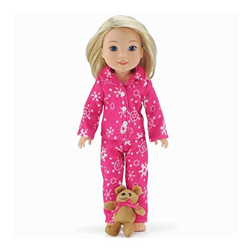 14 Inch Doll Clothes/Clothing | Cozy Pink and White Snowflake Print 2 Piece Pajama PJs Outfit with Teddy Bear | Fits American Girl Wellie Wishers - Bear Teddy Snowflake