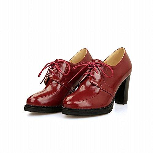 Show Shine Womens Fashion High Heel Lace Up Shoes Rosso Vino