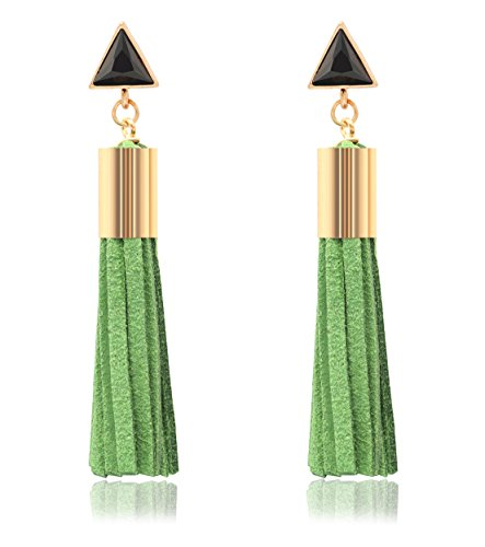 - KristLand - 925 Silver Post Fashion Leather Tassel Fringe Earrings Triangle Crystal Drop Dangle Green Gold Tone
