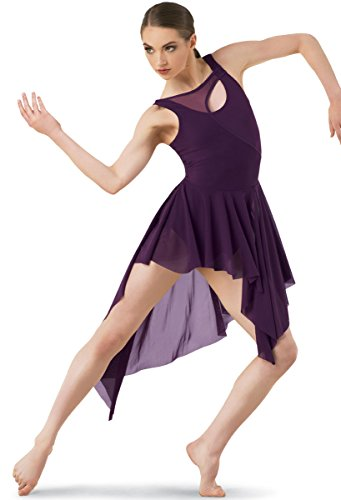 Balera Dress Girls Costume For Dance Asymmetrical Mesh Dress With Attached Leotard and High Low Skirt Eggplant Adult Small ()
