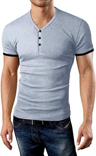 KUYIGO Mens Short Sleeve Henleys T-Shirts Buttons Placket Plain Summer Cotton Shirts