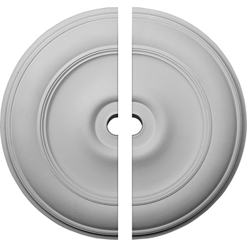 "Ekena Millwork CM44CL2 44 1/2"" OD ID x 4""P Classic Ceiling Medallion, Two Piece (Fits Canopies up to 8 1/4""), Factory Primed White"
