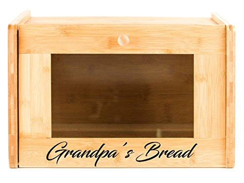 Personalized Bread Box - Kitchen Food Storage (Glass Window)